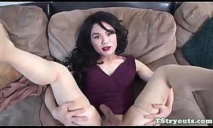 Auditioning ladyboy jerking her cock