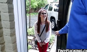 Tiny babysitter legal age teenager wearing glasses drilled hard by giant shlong