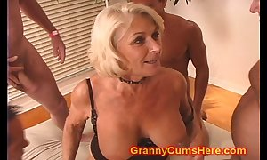 Granny receives a pack bourgeon plus cum straighten up