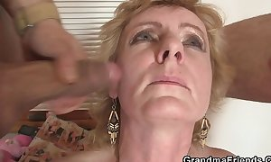 Two delivery males gangbang old slutty wife