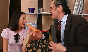 Licentious teacher on the take his cute student a dildo as A a present.