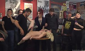 Submissive Spanish slut gets upon fucked while crowd is watching