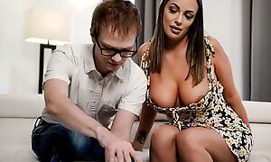 Brown-haired stunner with big natural tits fucks nerdy stud