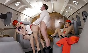 3 stewardesses fuck on private plane  PORNDHLSEX tube movie