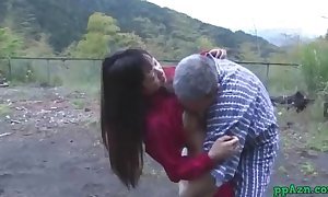 Asian wife getting her wet crack licked and screwed by old fellow cum to gazoo outdoor at